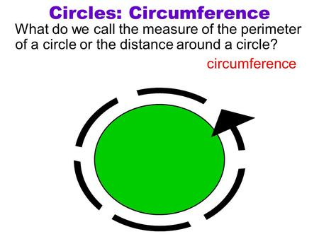 Circles: Circumference What do we call the measure of the perimeter of a circle or the distance around a circle? circumference.