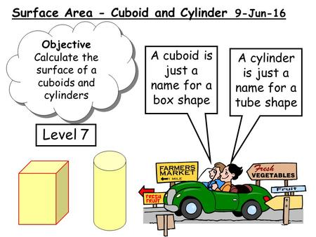 Surface Area - Cuboid and Cylinder 9-Jun-16 A cuboid is just a name for a box shape Objective Calculate the surface of a cuboids and cylinders Objective.