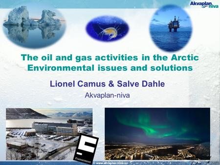 The oil and gas activities in the Arctic Environmental issues and solutions Lionel Camus & Salve Dahle Akvaplan-niva © www.akvaplan.niva.no.