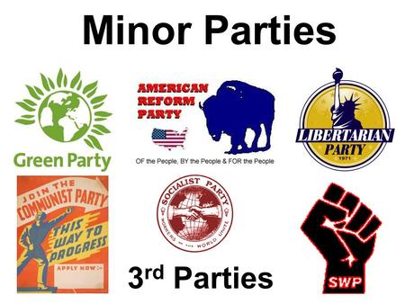 Minor Parties 3 rd Parties Types of Minor Parties Ideological Parties Single-Issue Parties Economic Parties Splinter Parties.