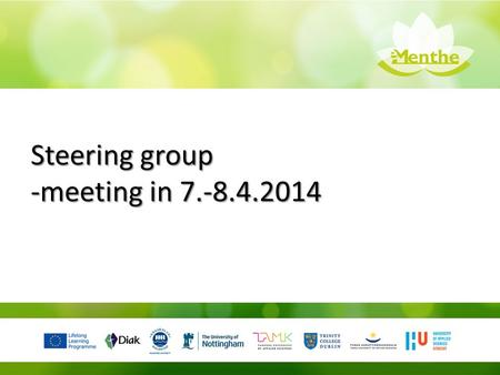 Steering group -meeting in 7.-8.4.2014. The 1st meeting of the steering group will be held in the premises of the project coordinator in Tampere. During.