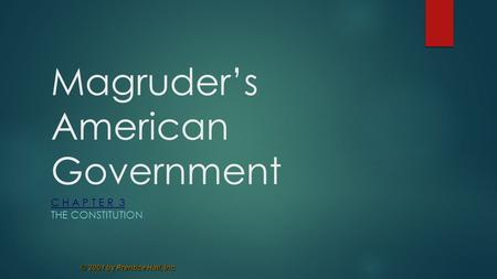 © 2001 by Prentice Hall, Inc. Magruder's American Government C H A P T E R 3 THE CONSTITUTION.