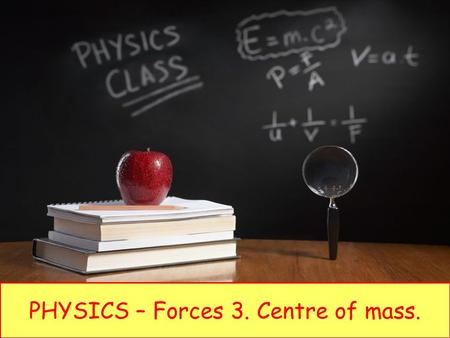 PHYSICS – Forces 3. Centre of mass.. LEARNING OBJECTIVES 1.5.4 Centre of mass Core Perform and describe an experiment to determine the position of the.