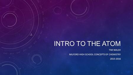 INTRO TO THE ATOM TIM WALSH MILFORD HIGH SCHOOL CONCEPTS OF CHEMISTRY 2015-2016.