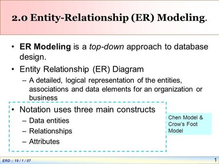 ERD :: 19 / 1 / 07 1 2.0 Entity-Relationship (ER) Modeling. ER Modeling is a top-down approach to database design. Entity Relationship (ER) Diagram –A.