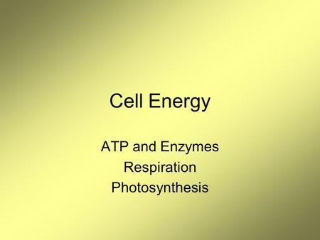 Cell Energy ATP and Enzymes Respiration Photosynthesis.