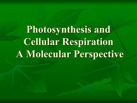 Photosynthesis and Cellular Respiration A Molecular Perspective.