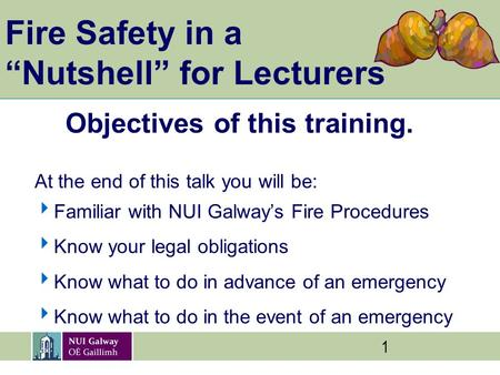 "1 Fire Safety in a ""Nutshell"" for Lecturers Objectives of this training. At the end of this talk you will be:  Familiar with NUI Galway's Fire Procedures."
