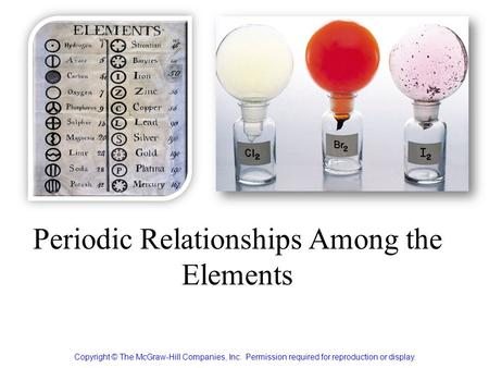 Periodic Relationships Among the Elements Copyright © The McGraw-Hill Companies, Inc. Permission required for reproduction or display.