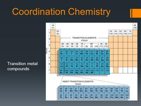 Coordination Chemistry Transition metal compounds.