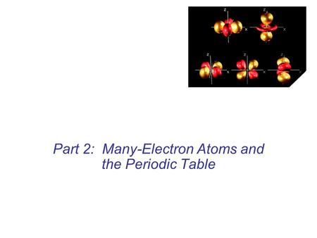 Part 2: Many-Electron Atoms and the Periodic Table.