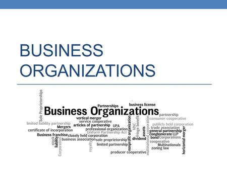 BUSINESS ORGANIZATIONS. Business Organizations An enterprise that produces goods or provides services in order to make a profit A business can be organized.
