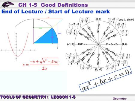 Geometry CH 1-5 Good Definitions TOOLS OF GEOMETRY : LESSON 1-5 End of Lecture / Start of Lecture mark.