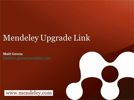 Mendeley Upgrade Link Matt Green