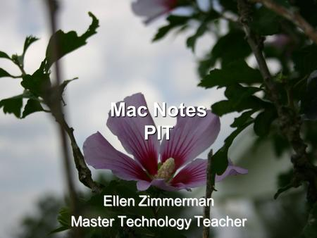 Mac Notes PIT Ellen Zimmerman Master Technology Teacher.