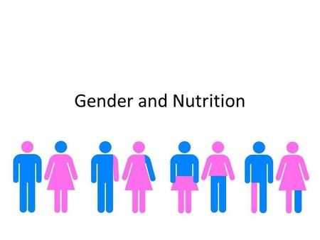 Gender and Nutrition. Gender and Sex Gender: Socially constructed characteristics of women and men – such as norms, roles and relationships of and between.