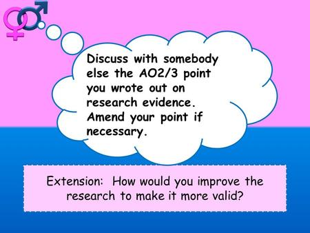 Extension: How would you improve the research to make it more valid? Discuss with somebody else the AO2/3 point you wrote out on research evidence. Amend.