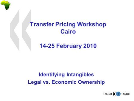 1 Transfer Pricing Workshop Cairo 14-25 February 2010 Identifying Intangibles Legal vs. Economic Ownership.