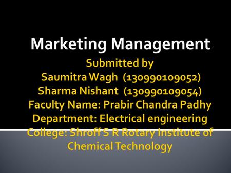 Marketing Management.  According to Phillip Kotler marketing management is the process of planning & executing the pricing, promotion & distribution.