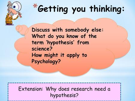 * Getting you thinking: Extension: Why does research need a hypothesis? Discuss with somebody else: What do you know of the term 'hypothesis' from science?
