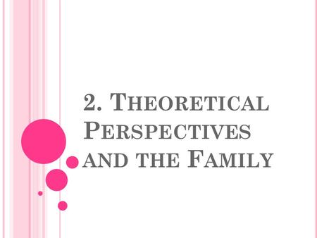 2. T HEORETICAL P ERSPECTIVES AND THE F AMILY. 3 T HEORIES ON F AMILY 1. Functionalism 2. Conflict 3. Symbolic Interactionism.