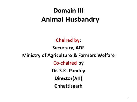 Domain III Animal Husbandry Chaired by: Secretary, ADF Ministry of Agriculture & Farmers Welfare Co-chaired by Dr. S.K. Pandey Director(AH) Chhattisgarh.