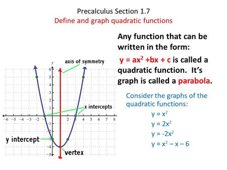 Precalculus Section 1.7 Define and graph quadratic functions Any function that can be written in the form: y = ax 2 +bx + c is called a quadratic function.
