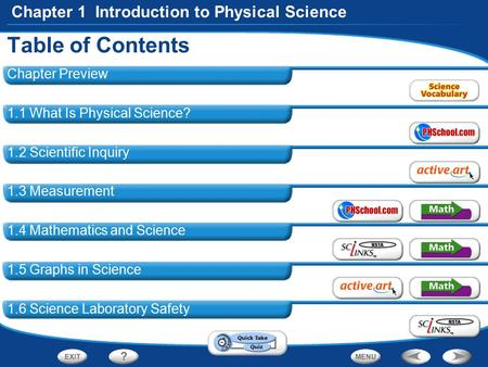 Table of Contents Chapter 1 Introduction to Physical Science Chapter Preview 1.1 What Is Physical Science? 1.2 Scientific Inquiry 1.3 Measurement 1.4 Mathematics.