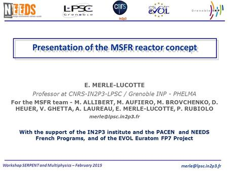 Workshop SERPENT and Multiphysics – February 2015 E. MERLE-LUCOTTE Professor at CNRS-IN2P3-LPSC / Grenoble INP - PHELMA For the MSFR team - M. ALLIBERT,