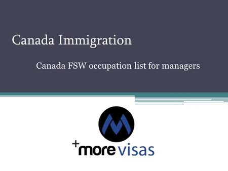 Canada Immigration Canada FSW occupation list for managers.