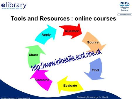 Tools and Resources : online courses Enabling Learning 27 September 2007.