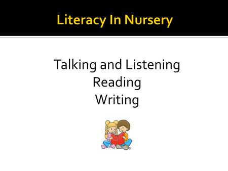 Talking and Listening Reading Writing.  Talking and Listening are the central skills children need to develop in order to live successful lives in today's.