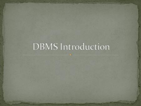 uses of DB systems DB environment DB structure Codd's rules current common RDBMs implementations.