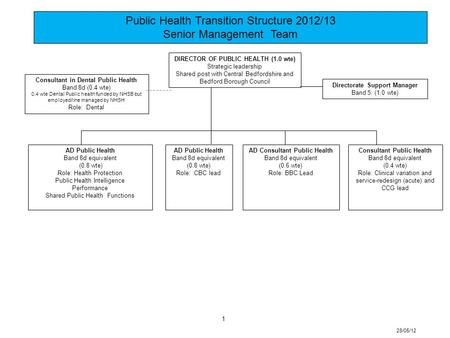 Public Health Transition Structure 2012/13 Senior Management Team 28/05/12 1 AD Public Health Band 8d equivalent (0.8 wte) Role: Health Protection Public.