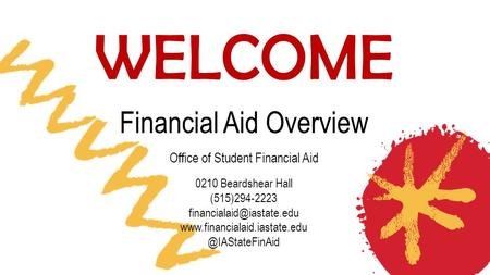 WELCOME Financial Aid Overview Office of Student Financial Aid 0210 Beardshear Hall (515)294-2223