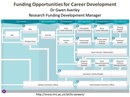 Funding Opportunities for Career Development Dr Gwen Averley Research Funding Development Manager