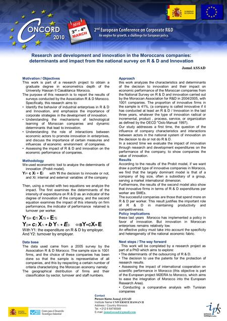 Motivation / Objectives This work is part of a research project to obtain a graduate degree in econometrics depth of the University Hassan II Casablanca.