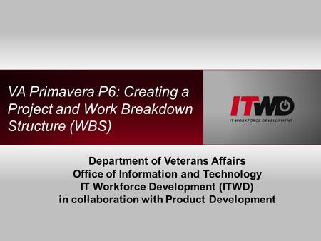 VA Primavera P6: Creating a Project and Work Breakdown Structure (WBS) Department of Veterans Affairs Office of Information and Technology IT Workforce.