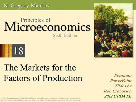 The Markets for the Factors of Production © 2013 Cengage Learning. All Rights Reserved. May not be copied, scanned, or duplicated, in whole or in part,