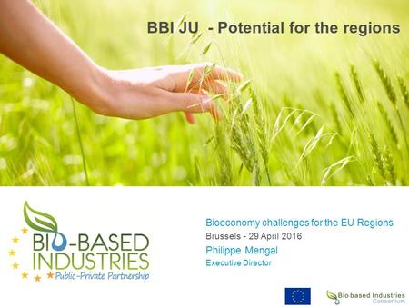 BBI JU - Potential for the regions Bioeconomy challenges for the EU Regions Brussels - 29 April 2016 Philippe Mengal Executive Director.