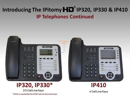 Introducing The IPitomy IP320, IP330 & IP410 IP Telephones Continued IP410 2/3 Call/Line Keys 4 Call/Line Keys 3 rd Call Key IP330 IP320, IP330* * IP330.
