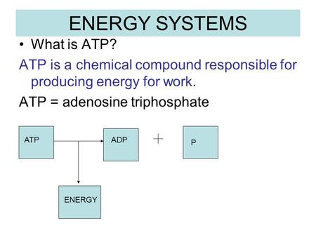 ENERGY SYSTEMS What is ATP? ATP is a chemical compound responsible for producing energy for work. ATP = adenosine triphosphate ATPADP P ENERGY.