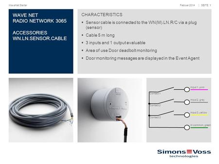 Februar 2014WaveNet Starter │ SEITE 1 WAVE NET RADIO NETWORK 3065 ACCESSORIES WN.LN.SENSOR.CABLE CHARACTERISTICS  Sensor cable is connected to the WN(M).LN.R/C.