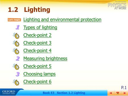 P.1 Book E3 Section 1.2 Lighting Lighting and environmental protection Types of lighting Check-point 2 Check-point 3 Check-point 4 Measuring brightness.