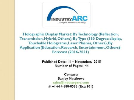 Holographic Display Market: By Technology (Reflection, Transmission, Hybrid, Others), By Type (360 Degree display, Touchable Holograms, Laser Plasma, Others),