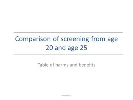 Appendix 2 Comparison of screening from age 20 and age 25 Table of harms and benefits.