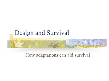 Design and Survival How adaptations can aid survival.