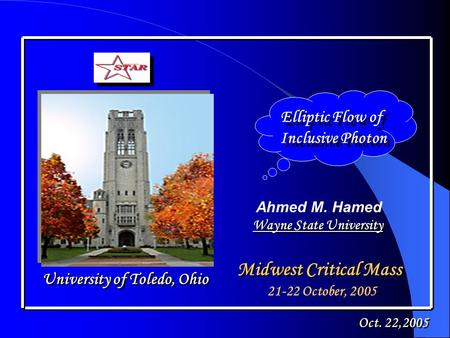 Elliptic Flow of Inclusive Photon Elliptic Flow of Inclusive Photon Ahmed M. Hamed Midwest Critical Mass University of Toledo, Ohio Oct. 22,2005 21-22.