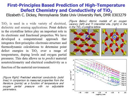 First-Principles Based Prediction of High-Temperature Defect Chemistry and Conductivity of TiO 2 Elizabeth C. Dickey, Pennsylvania State Univ University.
