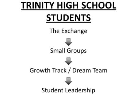 TRINITY HIGH SCHOOL STUDENTS The Exchange Small Groups Growth Track / Dream Team Student Leadership.